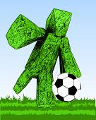 figure of abstract grass football player