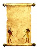 Scroll with Egyptian gods images - Anubis and Horus. Object isolated over white