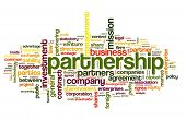 Partnership and business concept in tag cloud on white