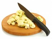 Fresh cauliflower and knife on cutting board isolated on white