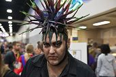SAN DIEGO, CALIFORNIA - JULY 13: Participant Jay Martinez with upstanding and complex hair while at