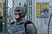 SAN DIEGO, CALIFORNIA - JULY 13: Participant Bruce Green dresses in costume as Batman while at Comic