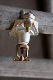 foto of retarded  - Fire security sprinkler head mount on pipe - JPG