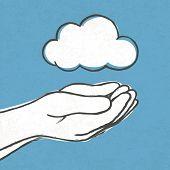Cloud in hands. Vector, EPS10