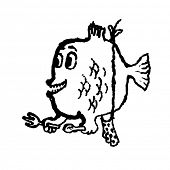 Piranha. Doodle illustration. Vector