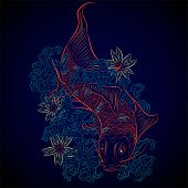 image of koi tattoo  - neon japanese tatoo styled carp fish koi - JPG