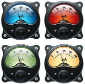 Electronic analog VU signal meter, realistic isolated illustration, set of 4