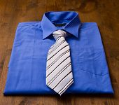 New blue man's shirt and tie isolated