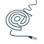 3d render of a isolated email symbol with cat5 network cable