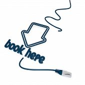 book here symbol with cat5 network cable