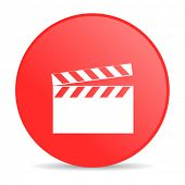movie red circle web glossy icon