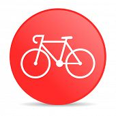 bicycle red circle web glossy icon