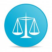 Justitie blauwe cirkel web glanzende pictogram