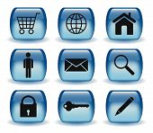 Glossy Blue Web Icon Set