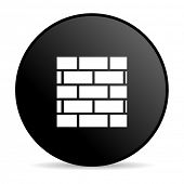 firewall black circle web glossy icon