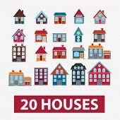 20 casas, los iconos de edificios, señales, conjunto de vectores