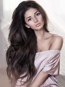 model, beautiful, young girl close-up in studio