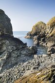 Beautiful secluded cove on bright sunny day