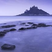 St Michael's Mount Bay Marazion long exposure during twilight