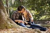 couple in love kissing outdoors