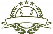 Baseball or Softball Grunge Laurel Wreath Banner