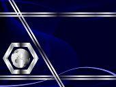 Tarjeta azul o plantillas de cartel con patrones de onda y un globo de plata disponibles en la parte inferior izquierda han