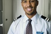 Close up portrait of male flight attendant
