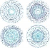 Abstrakt blau gemalte Bild Set mit Kreis Muster, Mandala, Kunst 3d