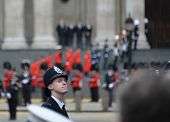 LONDON - UK, APRIL 17: Policeman lining Baroness Thatcher procession route on Ludgate Hill, on April