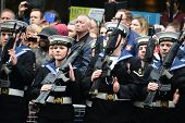 LONDON - UK, APRIL 17: Soldiers lining Baroness Thatcher procession route on Ludgate Hill, on April