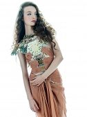 one young beautiful woman fashion model in on aura tout vu brown silk fantasy haute couture summer d