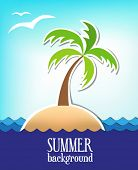 Summer Background With An Island And a Palm Tree