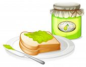 Illustration of a bread with avocado jam on a white background