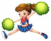 Illustration of a cheerdancer with a green ponytail and green pompoms on a white background