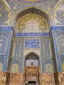 Tiled Background, Oriental Ornaments From Shah Mosque In Isfahan, Iran