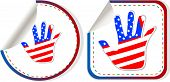 American Hand Sign Stickers Set, art illustration