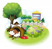 Illustration of a doghouse with a dog inside a fence on a white background
