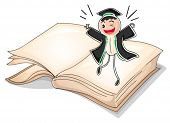 Illustration of a graduate above a book on a white background