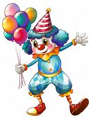 Illustration of a clown holding balloons on a white background