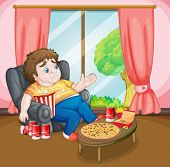 Illustration of a fat boy with lots of foods