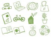 Ilustración de la eco-amigable logotipo sobre fondo blanco