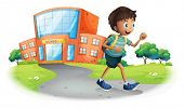 Illustration of a boy going home from school on a white background