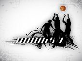 Illustration of a basketball players practicing with ball at court on  abstract grungy background. E