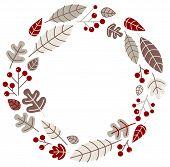 Xmas Retro Holiday Wreath Isolated On White