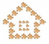 Image Of A House Made Of Wooden Figures Puzzles