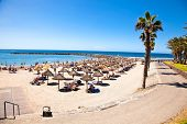 TENERIFE, SPAIN-SEPTEMBER 17:Beach Playa de la Vistas  on September 17, 2011Tenerife,Spain. More tha