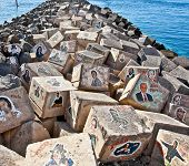 SANTA CRUZ DE TENERIFE, SPAIN - SEP 16: Graffiti on a stones of a breakwater on Sep 16, 2011 in Sant
