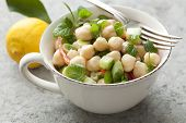 fresh chic pea salad with mint, cucumber,spring onions and red pepper. Sprinkled with olive oil and lemon