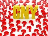 CNY sign surrounded by question marks.