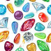Seamless Texture Of Colored Gems Isolated On White Background. Vector Illustration, Eps8